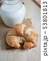 Croissant on wooden table wood and fabric select 53801813
