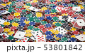 Casino chips, dice and poker cards background. 53801842