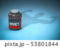 Whey protein with a shadow of bodibuilder. Sports  53801844