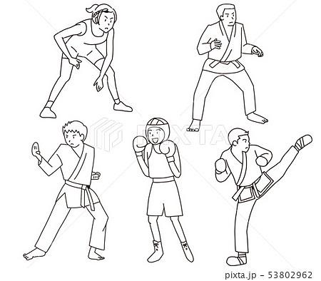 レスリング・柔道・空手・ボクシング・テコンドーオリンピック武道・格闘技競技イラストセット線画 53802962