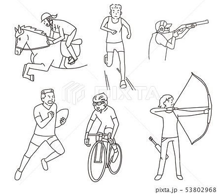 乗馬・陸上・射撃・ラグビー・ロードバイク・アーチェリーオリンピックフィールド競技線画イラストセット 53802968