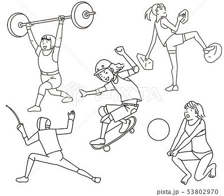 重量挙げ・スケボー・クライミング・フェンシング・ビーチバレーオリンピック競技新種目線画イラスト 53802970