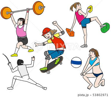 スポーツクライミング(ボルダリング)・スケートボード・ウェイトリフティング・フェンシング・ビーチバレー