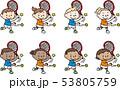 テニスをするいろいろな国の子供たち 53805759
