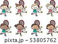 テニスをするいろいろな国の子供たち 53805762