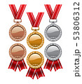 vector set of gold, silver and bronze medals 53806312