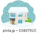 住宅 大雪 積雪のイラスト 53807915