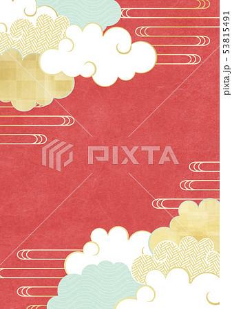 和紙-風合い-イラスト-茜空-雲-赤色 53815491