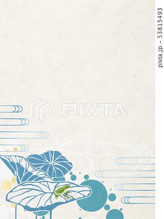 背景素材-夏イメージ-和モダン-水玉-水草-ハス-カエル 53815493