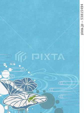 背景素材-夏イメージ-和モダン-水玉-水草-ハス-カエル 53815494