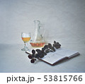 Orange liqueur alcohol drink. Small jug and tiny wineglass. Yellow shot sea buckthorn coctail 53815766