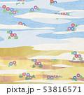 和紙の風合いを感じるイラスト 朝顔、夏、金、雲、波 53816571