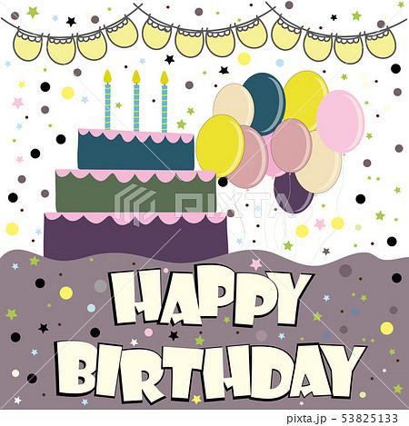 Vector happy birthday card. Birthday cake. Vector 53825133