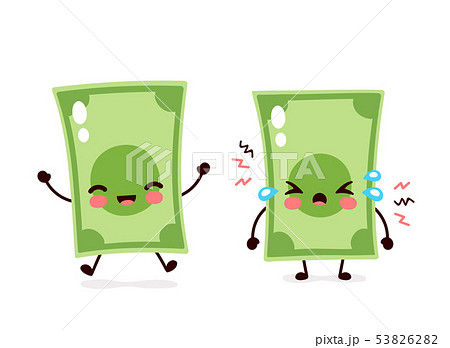Cute happy smiling and sad cry money banknote 53826282