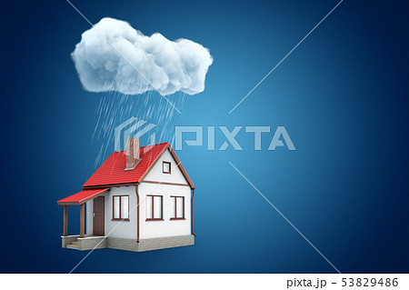 3d rendering of little detached house standing under rainy cloud, on blue background with copy space 53829486