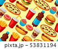 Seamless pattern with fast food meal. Tasty fastfood lunch products. 53831194