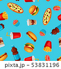 Seamless pattern with fast food meal. Tasty fastfood lunch products. 53831196