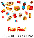 Background with fast food meal. Tasty fastfood lunch products. 53831198