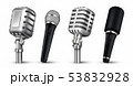 Realistic microphones. 3D studio and scene audio equipment, vintage and modern metal mics isolated 53832928