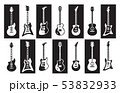Guitars. Black and white electric and acoustic rock guitars of different types. Vector minimalist 53832933