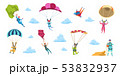 Cartoon skydivers. Sky jump with parachute and paraglider, extreme danger skydive falling. Vector 53832937