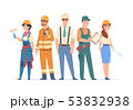 Builders and engineers characters. Construction workers and business peoples, men and women in 53832938