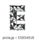 Wire low poly black metal Font Letter E 3D 53834916