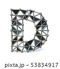 Wire low poly black metal Font Letter D 3D 53834917