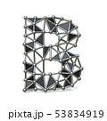 Wire low poly black metal Font Letter B 3D 53834919