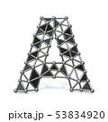 Wire low poly black metal Font Letter A 3D 53834920