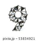 Wire low poly black metal Number 9 NINE 3D 53834921