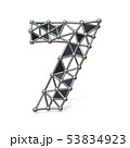 Wire low poly black metal Number 7 SEVEN 3D 53834923