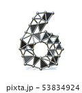 Wire low poly black metal Number 6 SIX 3D 53834924