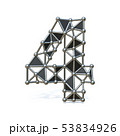 Wire low poly black metal Number 4 FOUR 3D 53834926