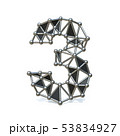 Wire low poly black metal Number 3 THREE 3D 53834927