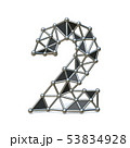 Wire low poly black metal Number 2 TWO 3D 53834928