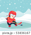 penguin play ice hockey in the winter 53836167