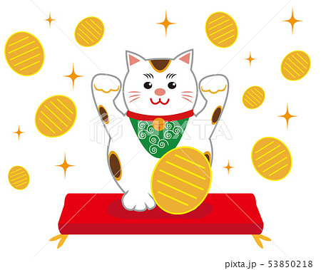 猫 招き猫 座布団 53850218
