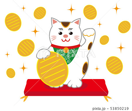 猫 招き猫 座布団 53850219