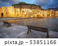 Cefalu town and beach at sunset light, Sicily, 53851166