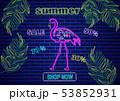 Neon flamingo summer tropic banner Vector. Night 53852931
