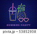 Neon pineapple cocktail Vector. Summer party 53852938