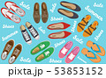 Men's and Women's shoes top view. Shoes icons. Sneakers and Slippers collection. Vector 53853152