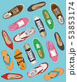 Men's and Women's shoes top view. Shoes icons. Sneakers and Slippers collection. Vector 53853174