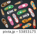 Men's and Women's shoes top view. Shoes icons. Sneakers and Slippers collection. Vector 53853175