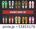 Men's and Women's shoes top view. Shoes icons. Sneakers and Slippers collection. Vector 53853176