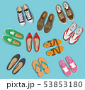 Men's and Women's shoes top view. Shoes icons. Sneakers and Slippers collection. Vector 53853180