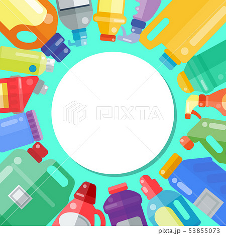 Cleaning products household bottle plastic liquid detergent product vector illustration. Housework 53855073