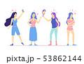 Cartoon Love Yourself Girls Concept Characters People Set. Vector 53862144