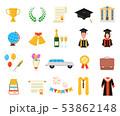 Cartoon Color Graduation Day Signs Icon Set. Vector 53862148